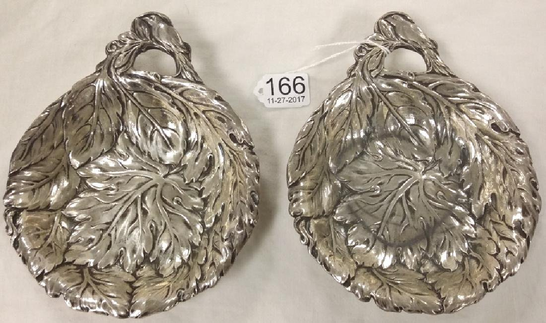 Pair of heavy hallmarked sterling relief bird trays