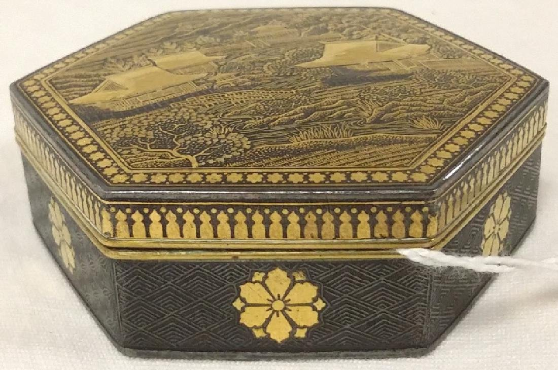 Small Shakudo covered box with gold(?) overlay-