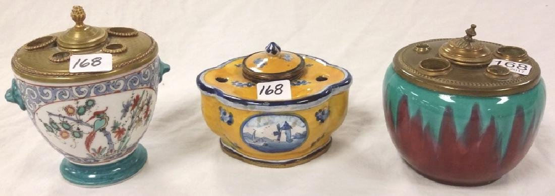 3 assorted inkwells including French Faience, porcelain