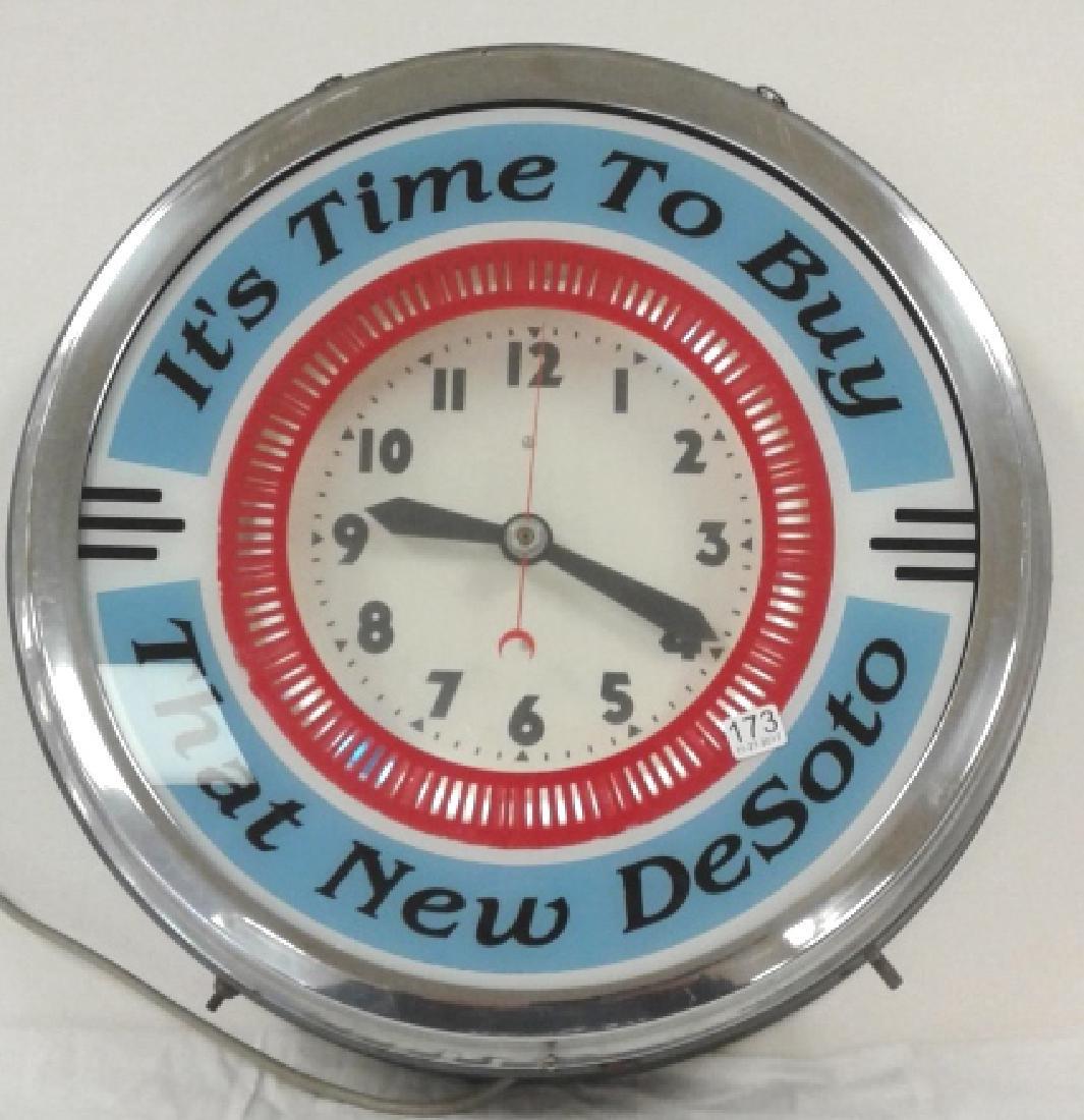 "18"" diameter ""It's Time to Buy That New Desoto"" neon"
