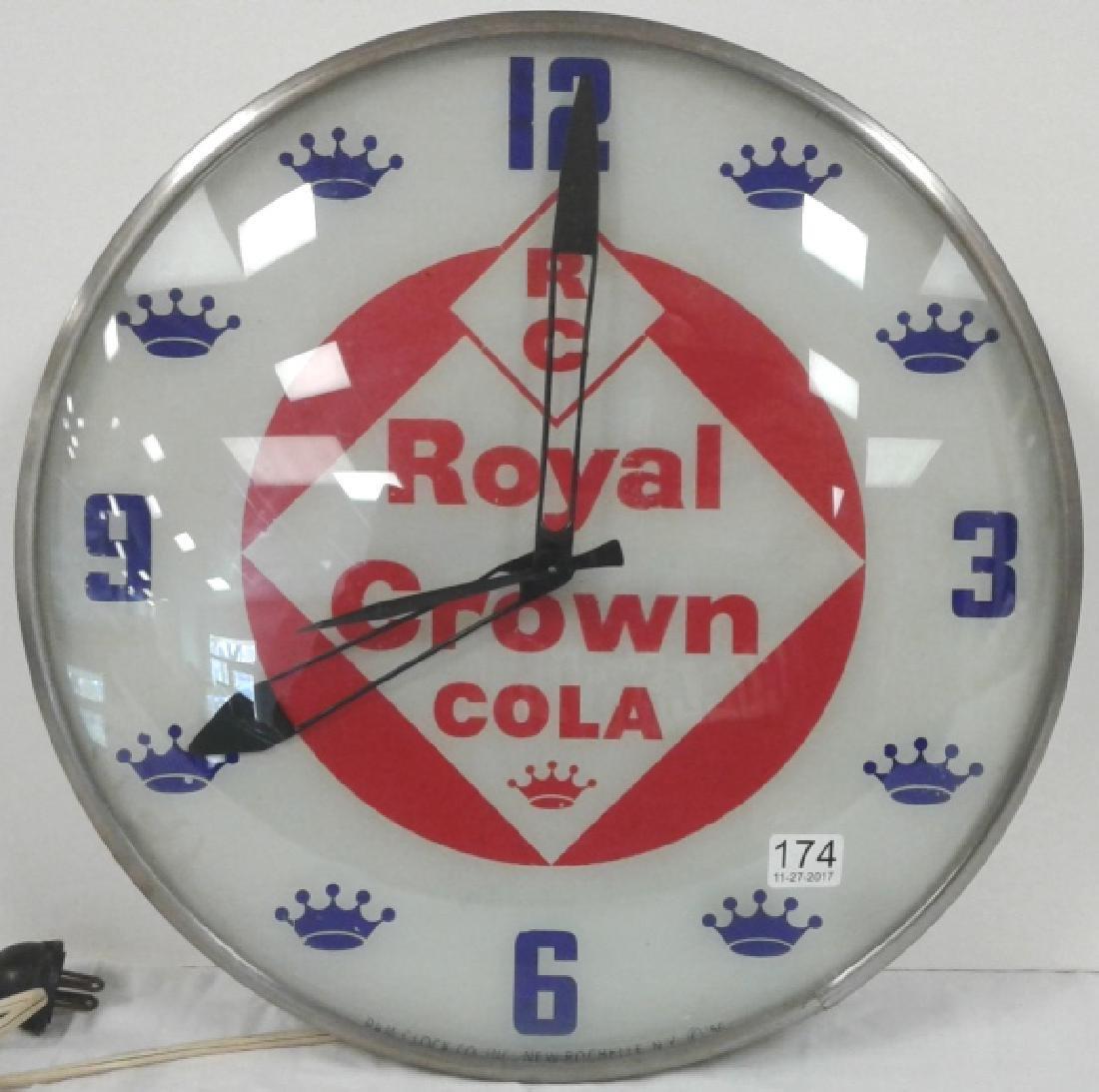 """15"""" diameter vintage Royal Crown Cola clock by PAM"""