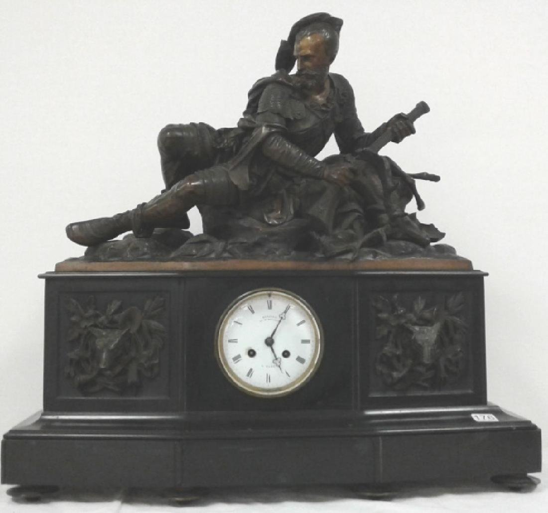Deniere A Paris clock with bronze huntsman signed J.A.