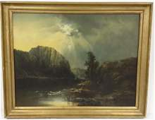 Antique Hudson River School oil on canvas - mountain