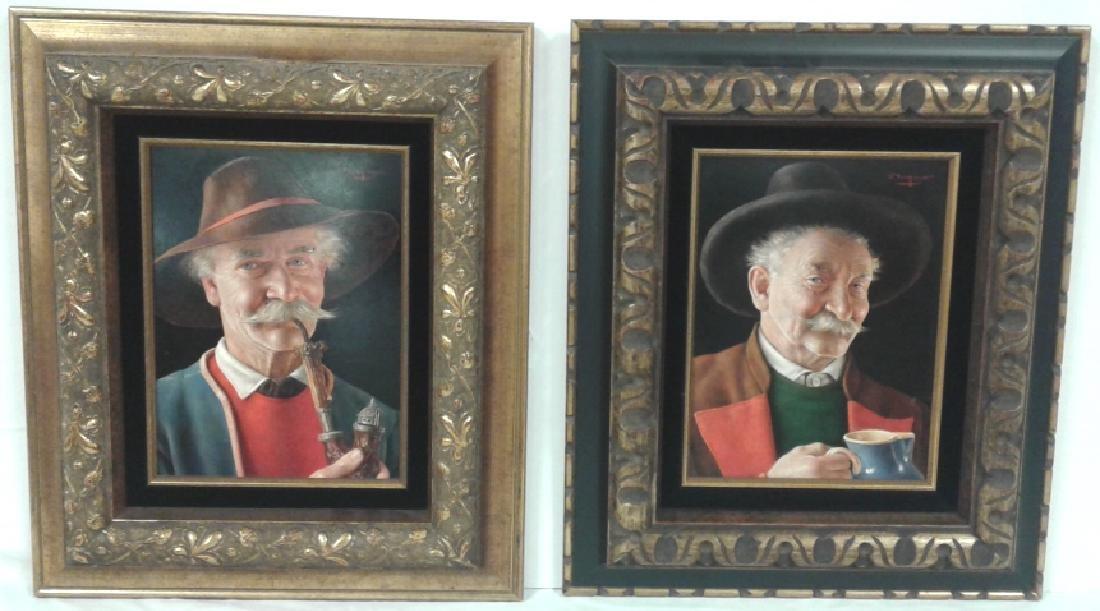 2 framed signed O (Otto) Eichinger oil on board-