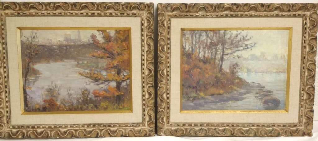 Early 1900's pair of unsigned William P. Silva oils on