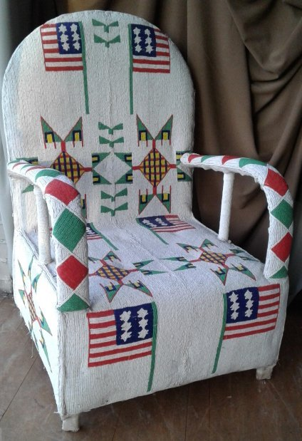 Fully beaded Native American style armchair with