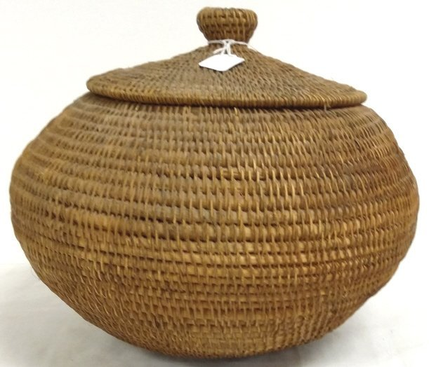 """Approx. 11"""" diameter antique Inuit covered basket"""