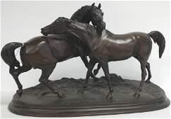 Signed PJ Mene bronze horses approx 22 x 13 tall