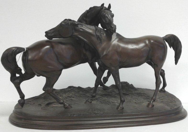 "Signed P.J. Mene bronze horses approx 22"" x 13"" tall"