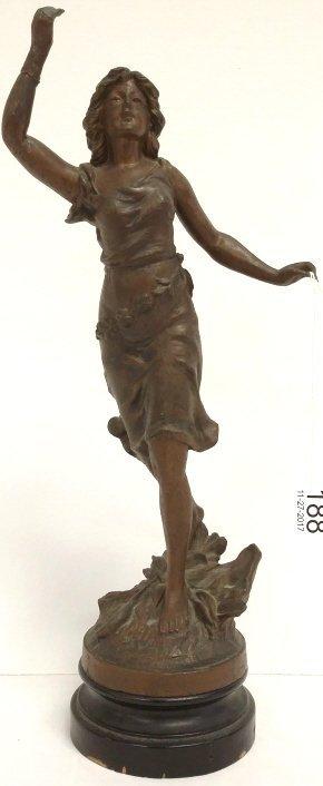 "14"" antique spelter figure - Lady (as seen arm repair)"