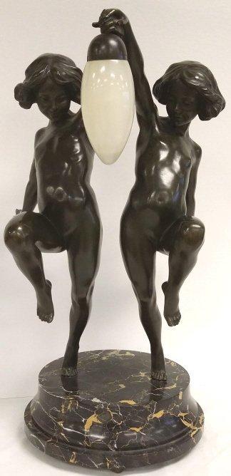 """24"""" Antique Nicolet bronze - Two Dancing Girls - on"""