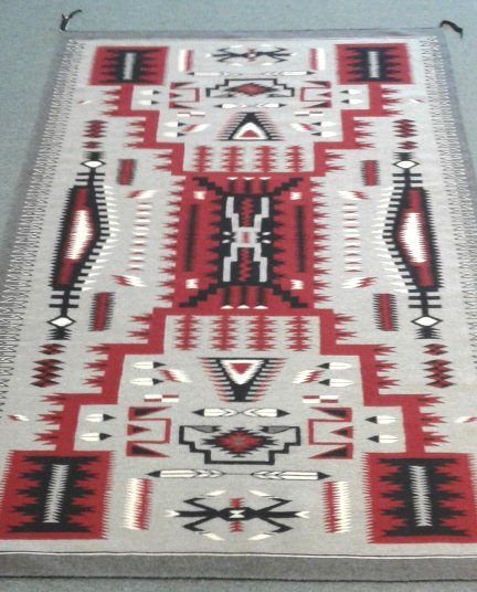 """Contemporary finely woven Navajo rug approx 87"""" x 59"""""""