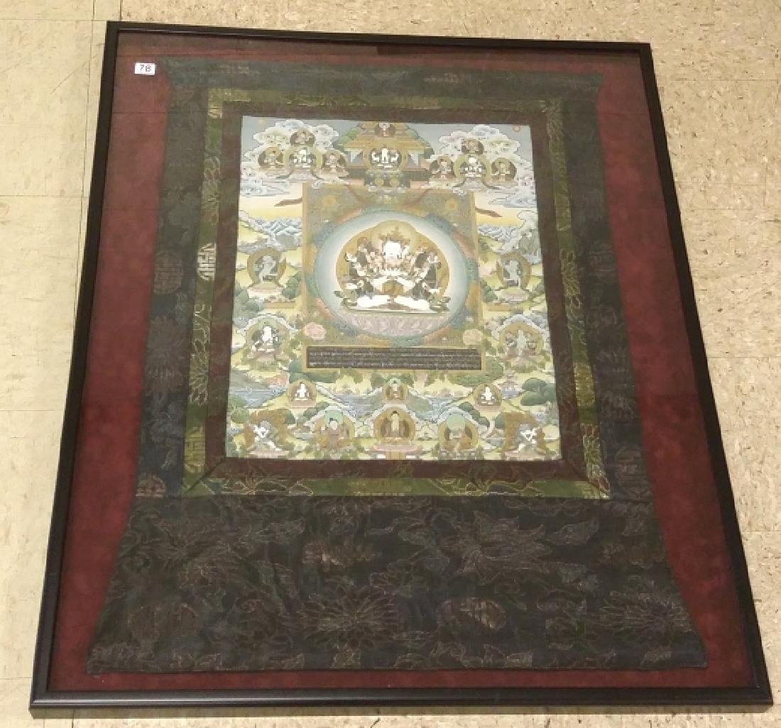 "Framed Tibetan hand painted Thangka on cloth 24""x 32"""