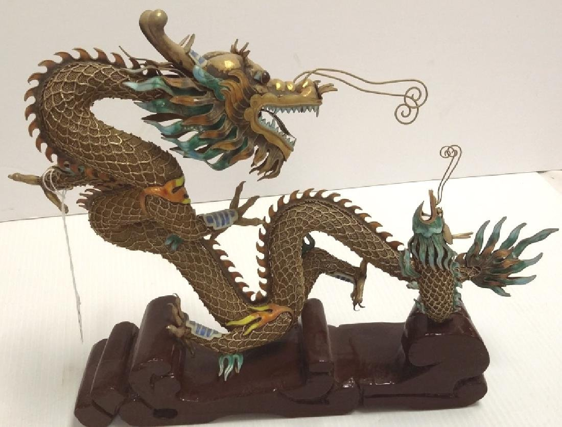 Chinese enameled filigree silver dragon & fish figure