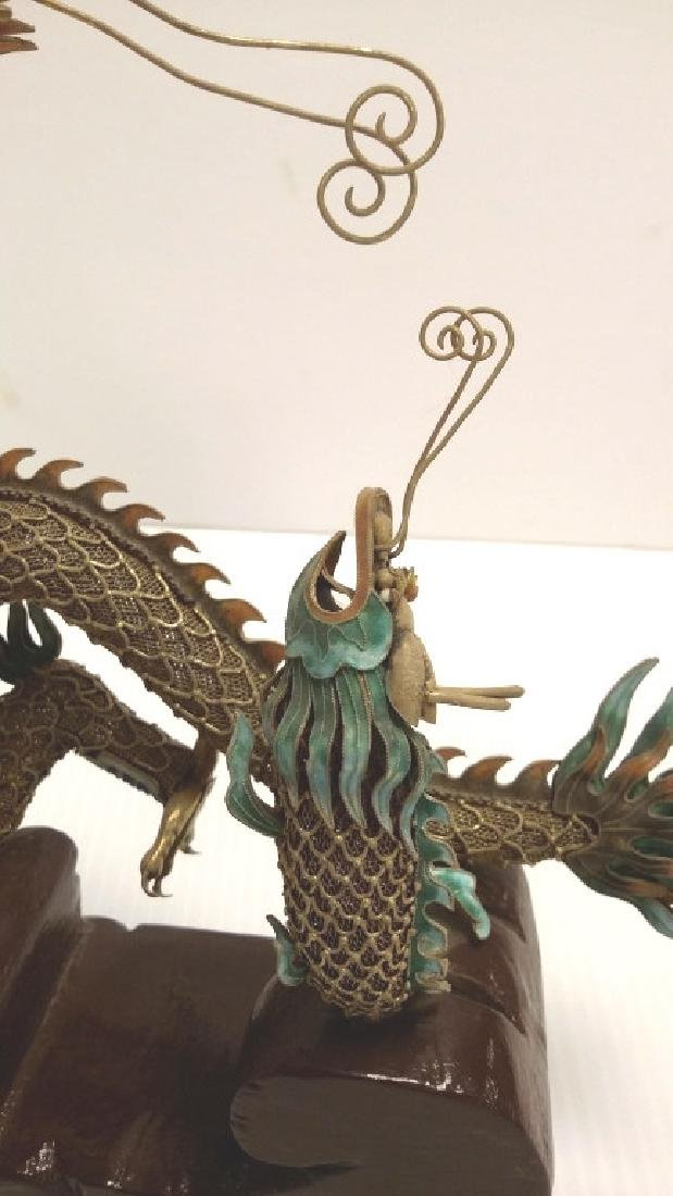 Chinese enameled filigree silver dragon & fish figure - 2