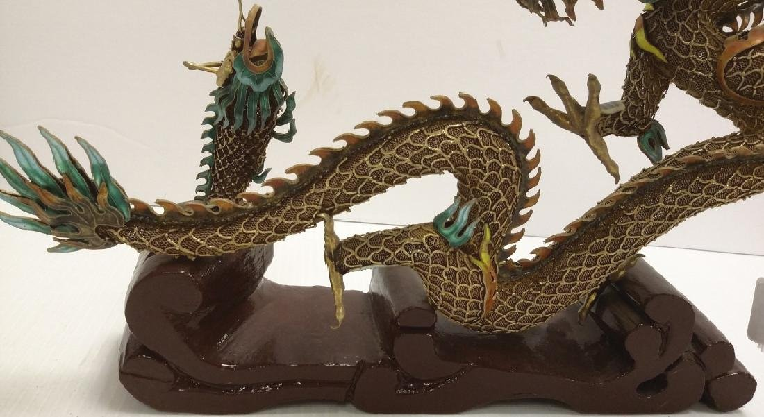 Chinese enameled filigree silver dragon & fish figure - 8