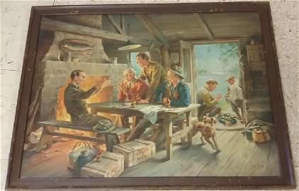 Signed Geo. (George) Hinke oil on canvas- Kato beer