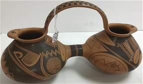 Signed Juan Quezada southwest pottery double pitcher