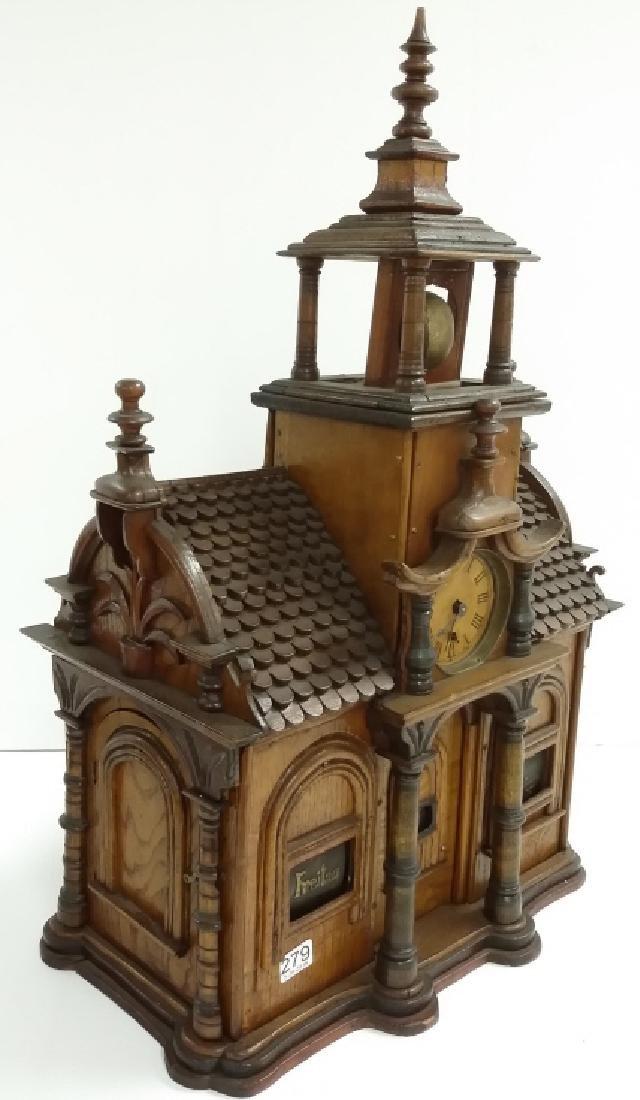 Antique Black Forest folk art building clock with