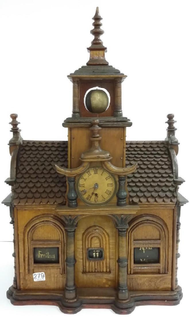 Antique Black Forest folk art building clock with - 2