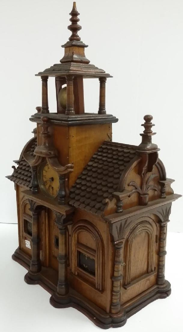 Antique Black Forest folk art building clock with - 3