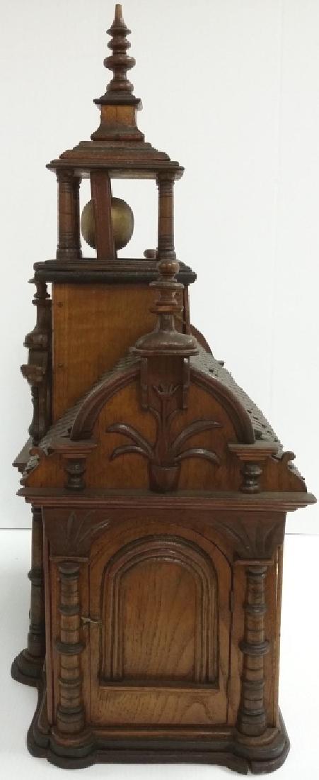 Antique Black Forest folk art building clock with - 4
