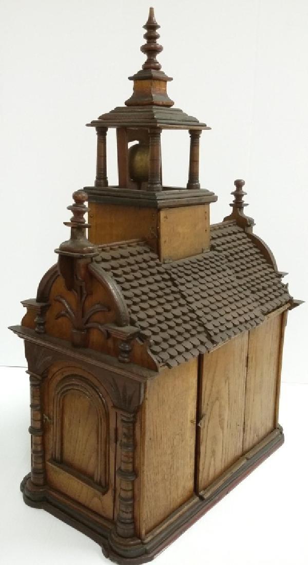 Antique Black Forest folk art building clock with - 5