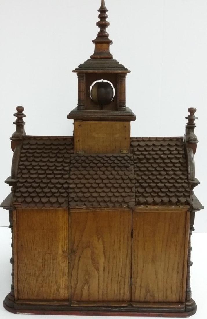 Antique Black Forest folk art building clock with - 6