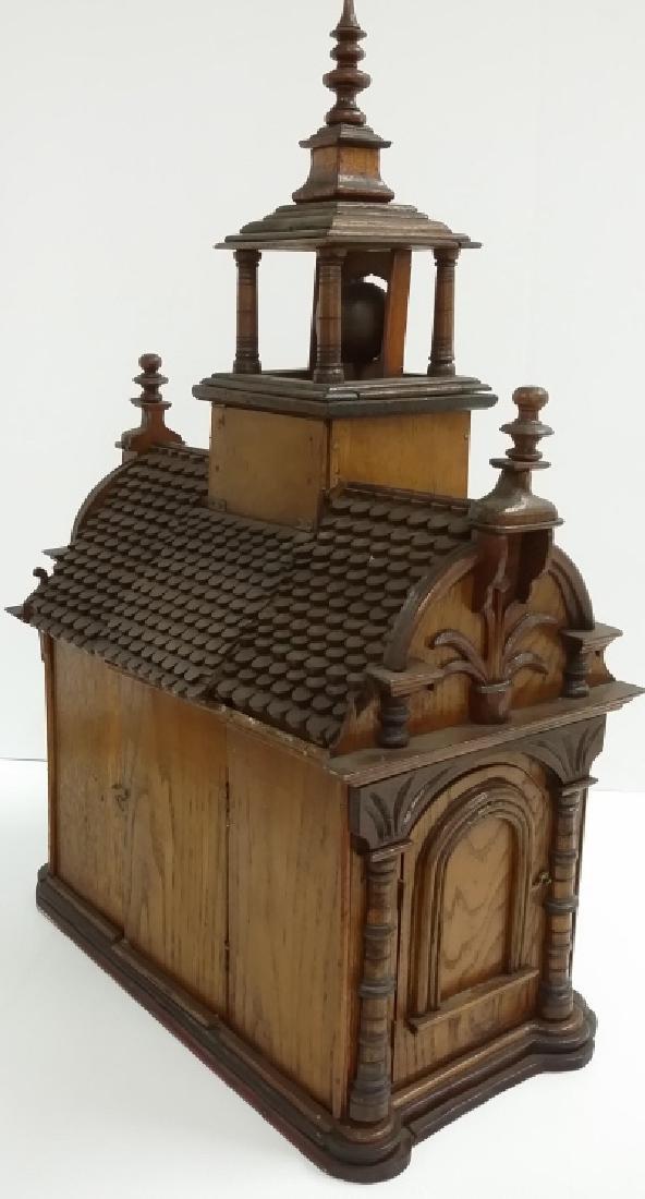 Antique Black Forest folk art building clock with - 7