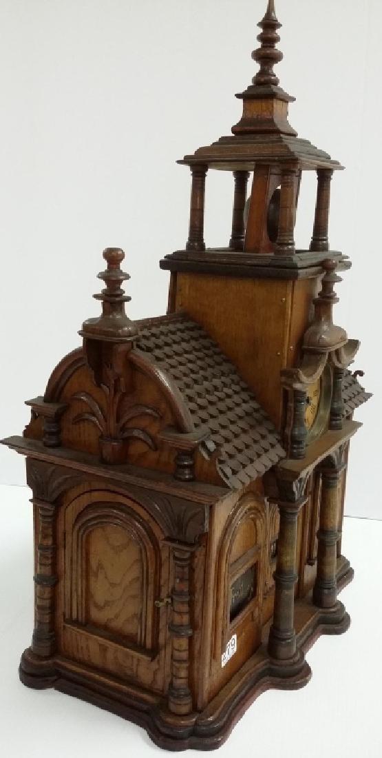 Antique Black Forest folk art building clock with - 8