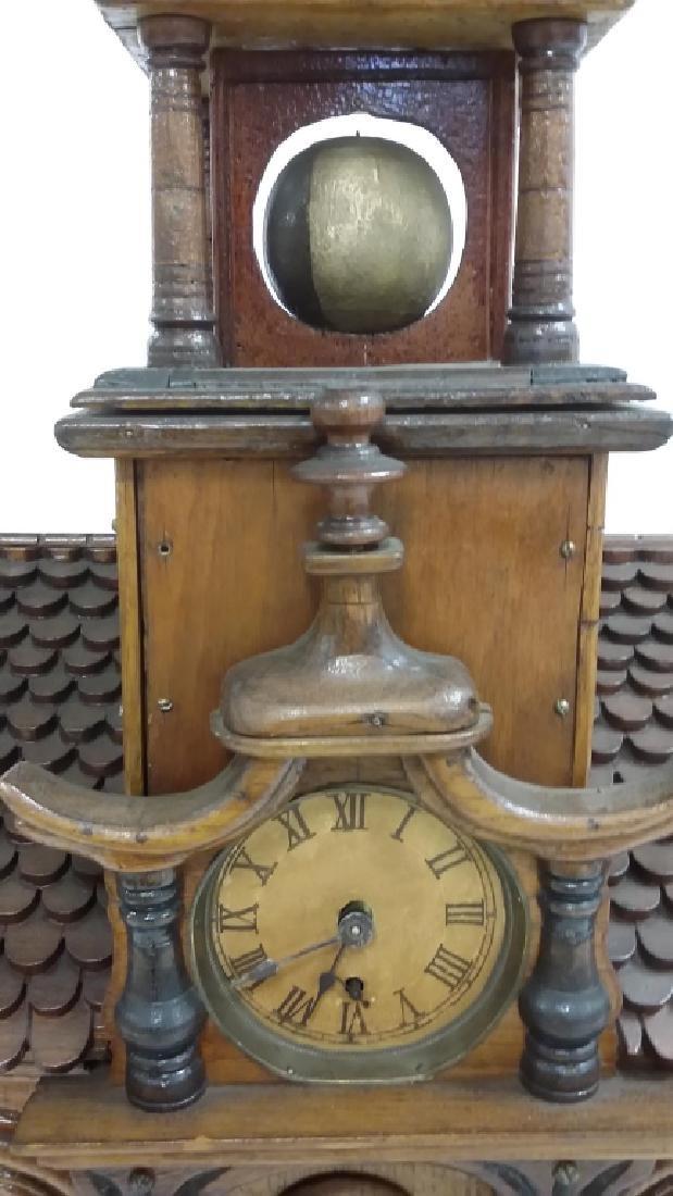 Antique Black Forest folk art building clock with - 9