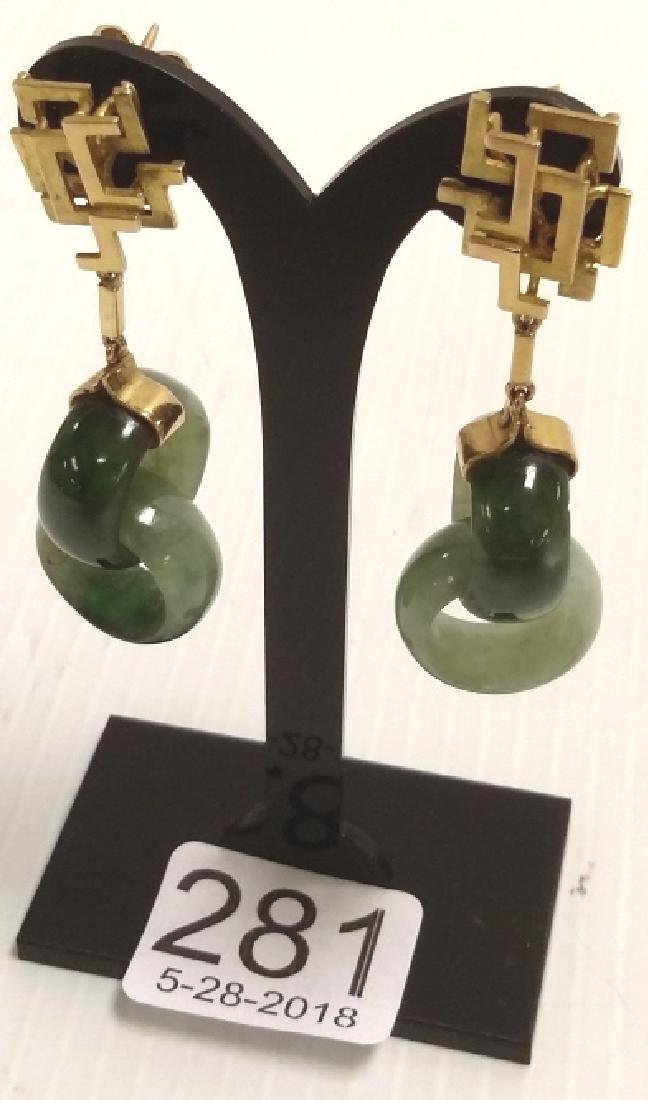 Pair 14K gold & carved jade drop earrings
