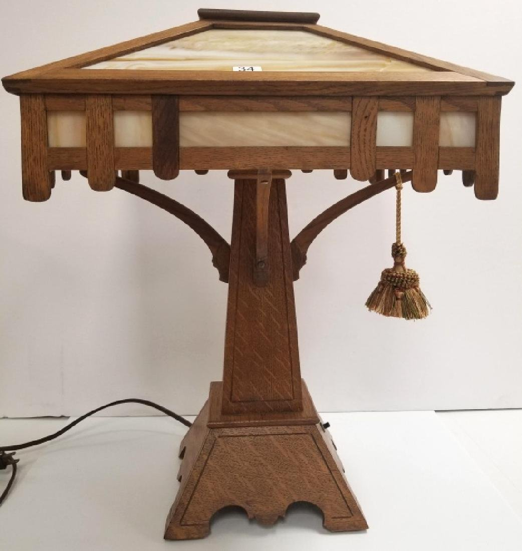 """Antique mission oak table lamp- approx. 23"""" tall x 17"""""""