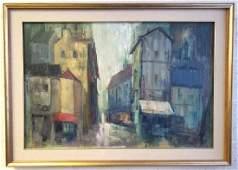 "Framed signed Greene oil on canvas- buildings- 41 1/2"""
