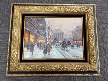 Ornately framed signed Edouard Cortes oil on canvas-