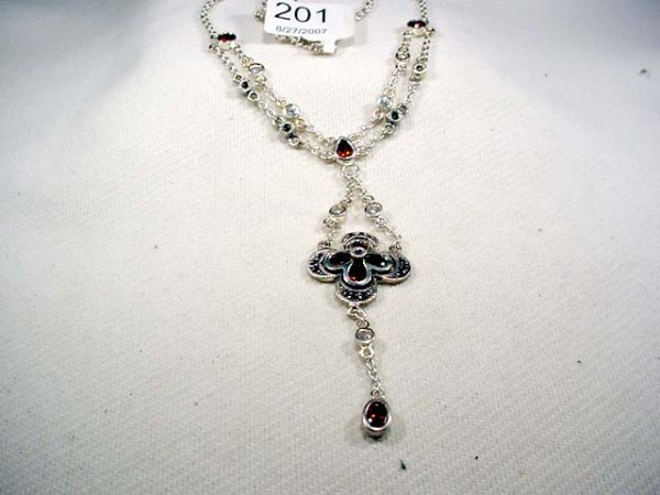 201: Victorian style sterling necklace, marcasites