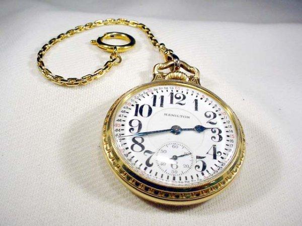 214: Hamilton 21 jewel 992 pocket watch double sunk