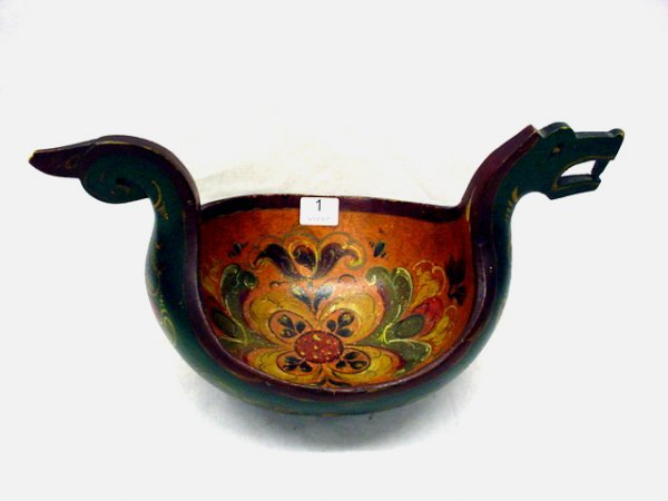 """1001: Rosemale decorated wooden ale bowl, 6""""x 11"""""""