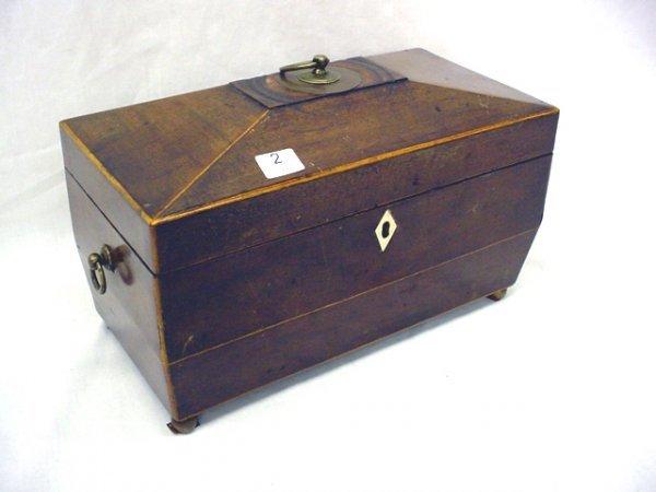 1002: Antique wooden tea caddy, mahogany-brass handles