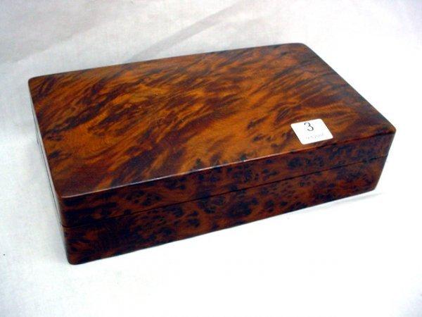 "1003: Burlwood hinged cigar box, 5""x 8 1/2'"