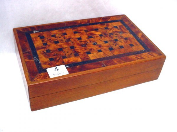 "1004: Inlaid burlwood hinged box, 4 1/2""x 7 1/2"""