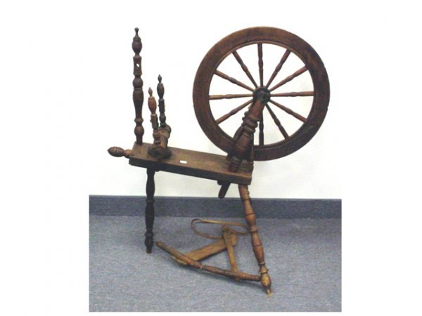 """1006: Spinning wheel, oak (some parts missing) 32""""x 36"""""""