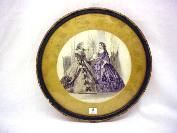 """1008: Framed fashion print, circa 1860 Paris 8 1/2"""" dia"""