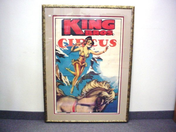 """1009: Circus poster, King Bros. 1965 framed, 26""""x 40"""""""