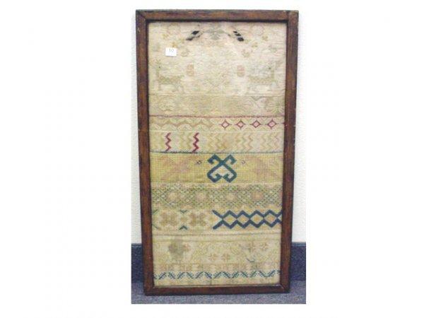1010: Needlework sampler with deer & geometric design