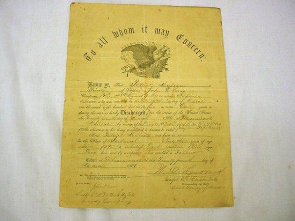 1015: Civil War Wisconsin discharge paper, 18th regimen
