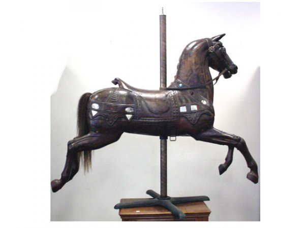 """1030: Antique carved wood carousel horse 60"""" long x 59"""""""