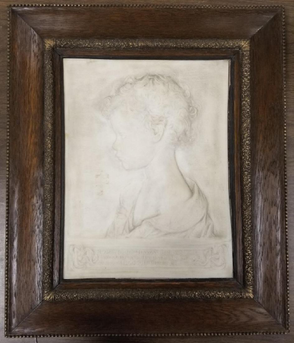 Framed James Earle Fraser relief on marble plaque-