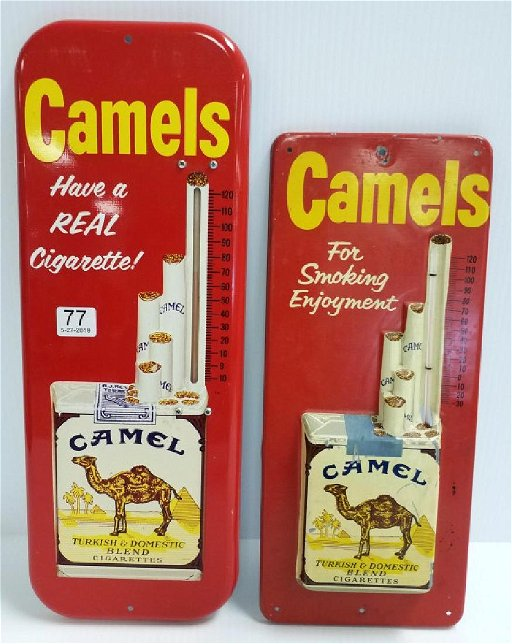 2 camel cigarette advertising thermometers