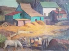 Framed signed Dewey Albinson oil on canvas - farm scene